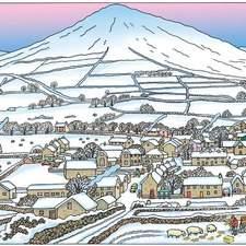 Snowy Welsh landscape, Japanese in feel,farmer feeding sheep.