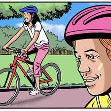 Kids on bikes in park