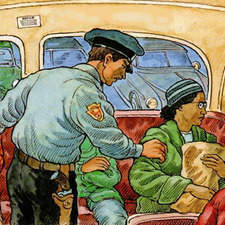 Rosa Parks about to be thrown off a bus by aggressive racist policeman.