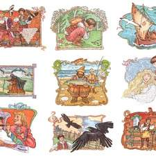 Russian folk tales, king, boat, crows, barber, fish, witch, cooking pot.