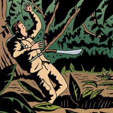 Strip cartoon showing discovery of lost treasure in TinTin style.
