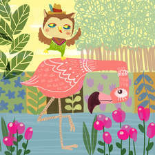 Cheeky Owl and Flamingo