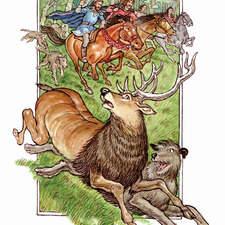 Medieval huntsmen pursue a stag through a forest.