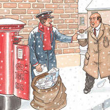 Postman receiving last minute letter from shopkeeper just as he is emptying old fashined red pillarbox. Snow falling heavily