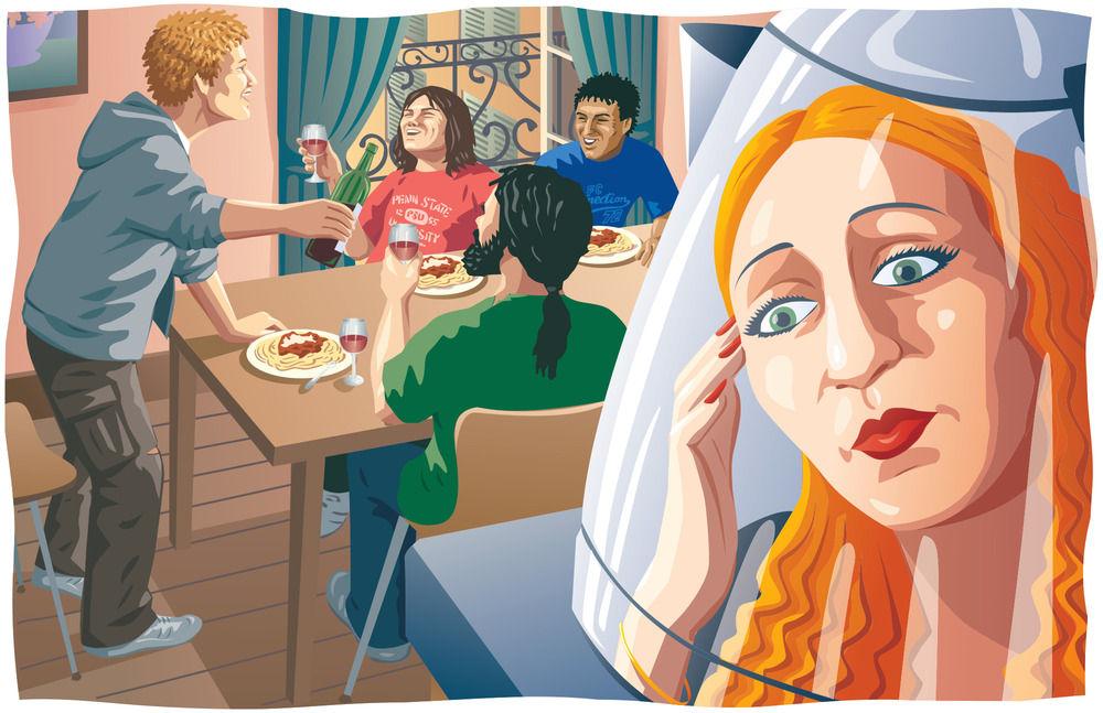 Fiction illustration for magazine.