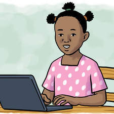 African girl with laptop for Zambian Maths book.