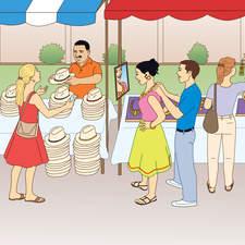 Hispanic market scene for US ELT book.