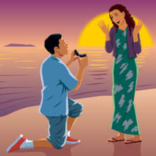 Boy proposing to girl on beach at sunset.