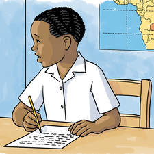 Zambian schoolboy being kept in to do homework.