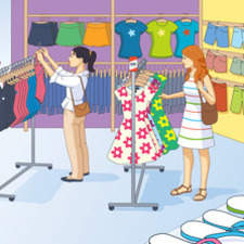 Illustration of two girls shopping for clothes.