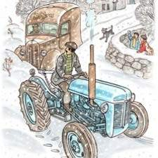 Tractor pulls van out of snow on Welsh farm.