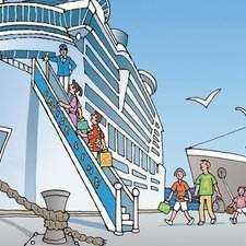 Family boards cruise ship