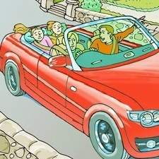 Family drives along beach front in covertible car with seaside village and pub with garden in background.