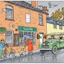 Land Rover with farmer and dog waiting outside village shop in the rain, pensioner looking in the shop window, boy with bike putting something in a rucksack, bird flying over, autumnal tree in background