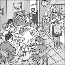 Family at kitchen table, boy watching television, mum on the phone while feeding baby, dad reading a newspaper, girl drawin, boy bored.