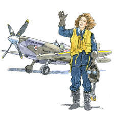 WW2 female ferry pilot and Spifire