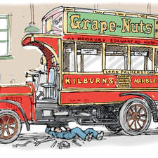 Vintage London bus in a garagem mechanic working underneath