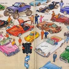 Car park with large collection of different classic car types.