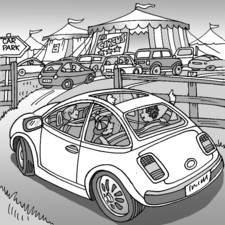 Family car entering circus car park.