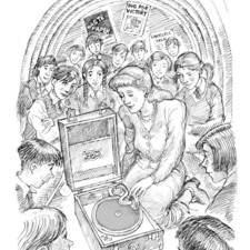 Schoolchildren in WW2 air-raid shelter, teacher plays a gramophone