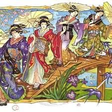 Japanese geishas dance on garden bridge with parasols