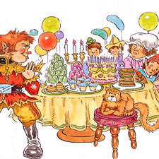 Naughty goblin at birthday party table loaded with birthday food.