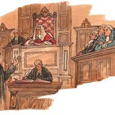 18th century courtroom barrister addressing jury, judge looks on.