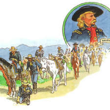 George Custer and cavalry soldiers tracking indians.