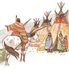 Indian encampment, tepees