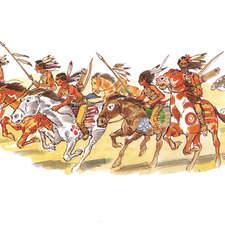Indian war party charging on horseback.