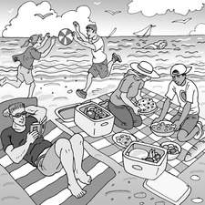 Teens having picnic on the beach, setting out food, reading, playing with a beach ball, swimming.