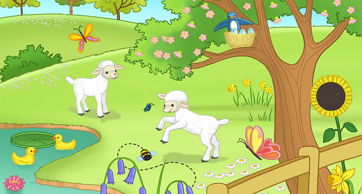 Frolicking lambs