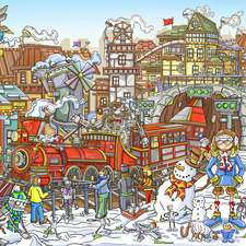 'Winter city' hand drawn double page artwork finished in photoshop