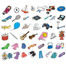 Clothes, objects, musical instruments, toys, sports