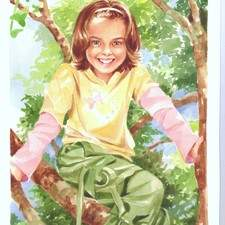 A girl climbing a tree