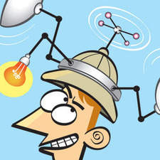 From a series of Ingenious Devices. Cartoon of explorer wearing an insect detector.