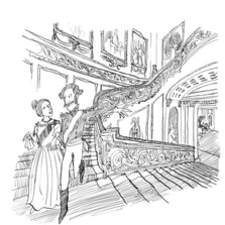 Queen Victoria I with Albert on staircase