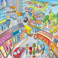 Busy townscape showing a range of buildings, types of transport and activities