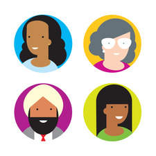 Simple icon style portraits showing a range of ethnicities and ages