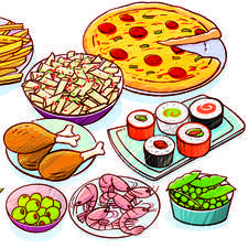 wide range of different foods including fish & chips, pizza, pasta and sushi.