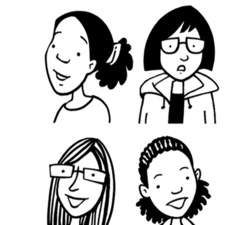 Black & white line drawings of a wide range of young people.
