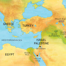 Map of Middle East for Bible reference book