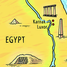 Decorative map of Egypt, showing route of biblical story.