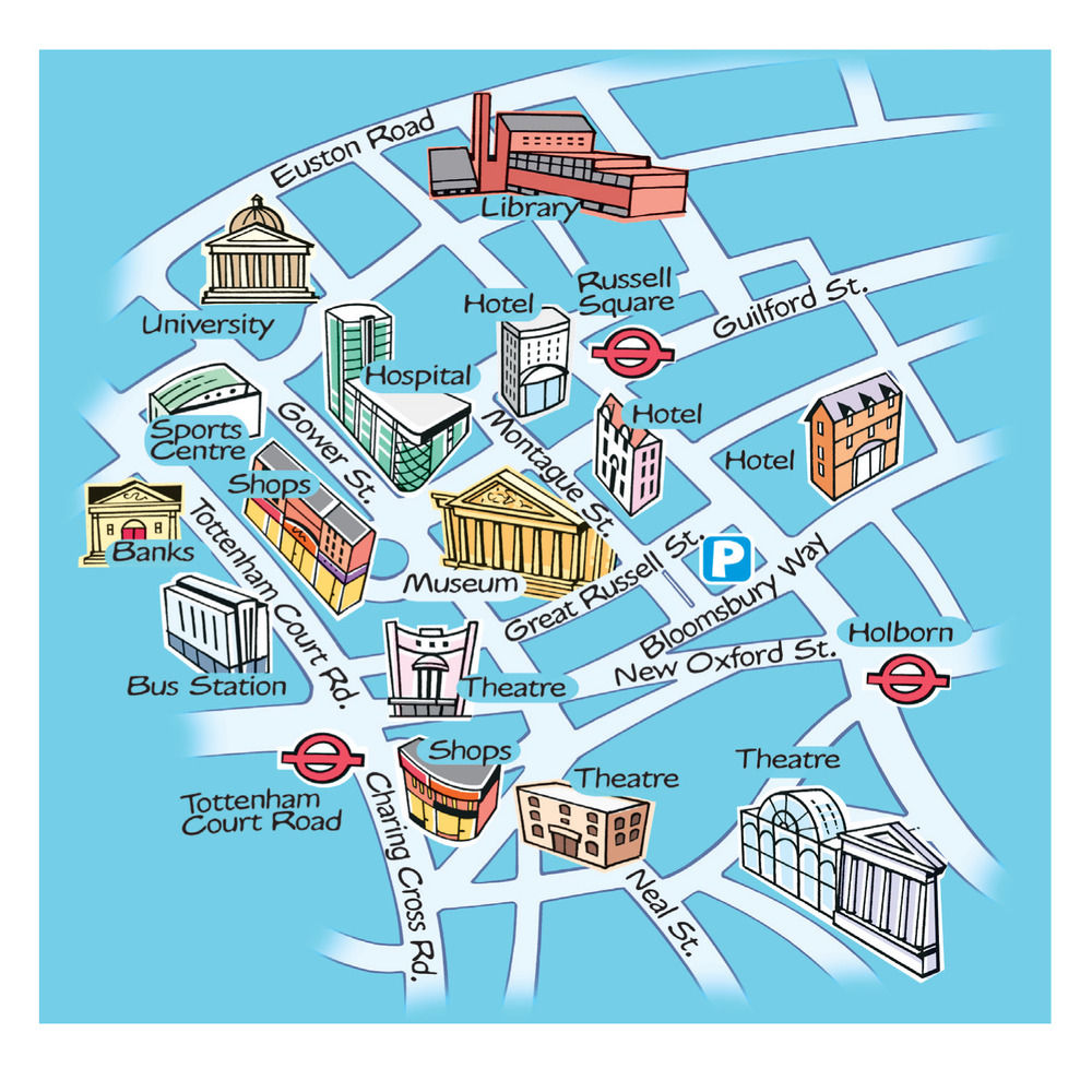 London Landmarks Map.Beehive Illustration