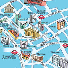 Simple map of London streets with spot illustrations of  buildings and landmarks.