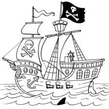 Simple line drawing of Pirate ship for colouring book