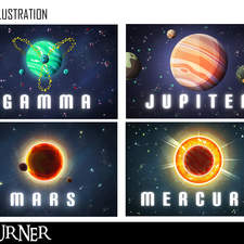 """X"" Planet illustrations"