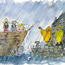 The Planktown Pirates arrive at there holiday destination... in the rain