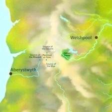 Map showing terrain and rivers