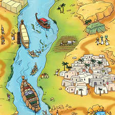 Egyptian landscape for a Horrible Histories boardgame
